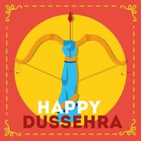 happy dussehra celebration with lord rama hand and arch weapon vector