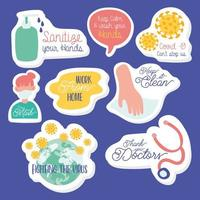 set of campaign letterings and icons in purple background vector