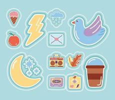 Stickers flat style icon set with moon and stars vector