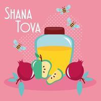 shana tova lettering with honey pot and fruits vector
