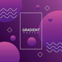purple geometric vivid background with rectangle frame vector