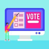 El día de las elecciones, la democracia con un votante masculino y un lápiz en el escritorio. vector