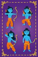 happy dussehra celebration with lords rama blue characters vector