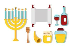 happy rosh hashanah celebration with set icons vector