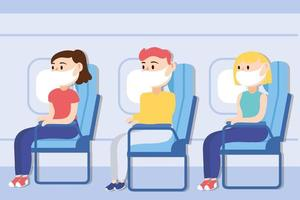 travel safe campaign poster with passengers wearing medical mask in airplane chairs