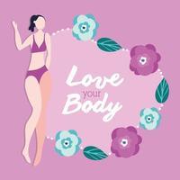 Amo tu cuerpo, letras con mujer flaca y flores. vector