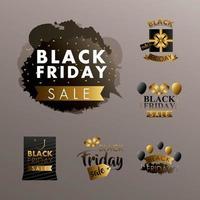 Black Friday sale label set vector