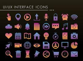 forty interface silhouette style icons vector