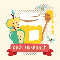 happy rosh hashanah celebration with honey and apples vector