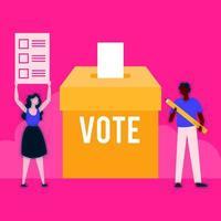 Día de las elecciones democracia con votantes interraciales pareja en urna vector
