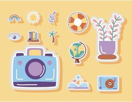 Stickers flat style icon set with moon and stars camera vector