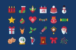Merry Christmas celebration icon set vector