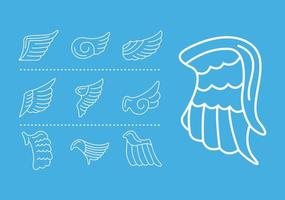 bundle of wings feathers birds line style icons vector