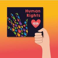human rights campaign lettering with hand lifting a banner vector