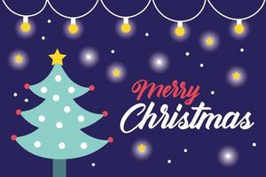 Merry Christmas celebration card with pine tree and lights