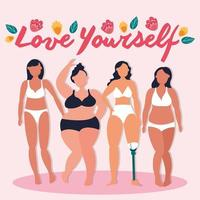 love yourself lettering with group of women with different body types vector