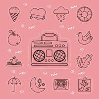 Stickers icon set with retro radio vector