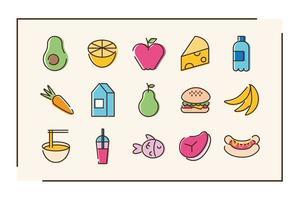 paquete de quince iconos de comida vector