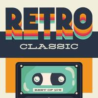 Retro style party poster with cassette tape vector