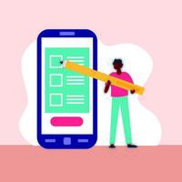 El día de las elecciones, la democracia con el votante masculino afro y el lápiz en el teléfono inteligente. vector