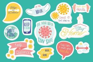 set of campaign letterings and icons in green background vector