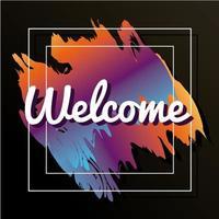 letras de la etiqueta de bienvenida en un marco cuadrado vector