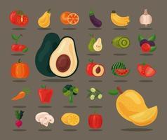 paquete de veinticuatro frutas y verduras frescas, iconos de alimentos saludables vector