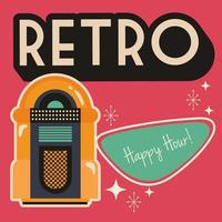 Retro style party poster with music jukebox vector