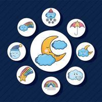 bundle of nine kawaii weather characters vector