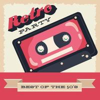 Retro style party poster  with cassette and ribbon frame vector