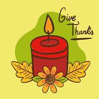 give thanks lettering with candle hand draw style vector