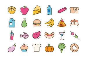 paquete de veinticuatro iconos de comida vector