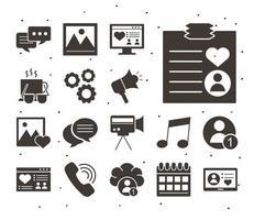 paquete de catorce iconos de estilo de bloque de redes sociales vector