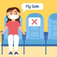 fly safe campaign lettering poster with passenger in airplane seats