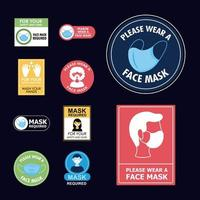 Bundle of new normal campaign with stickers vector