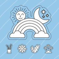 Stickers icon set with rainbow vector