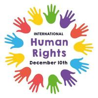 Human rights campaign lettering with hand prints vector
