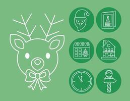 conjunto de iconos de estilo de línea de navidad vector