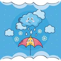 Paraguas con nube lluviosa kawaii clima personaje cómico vector