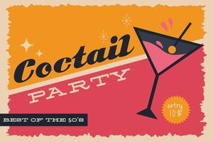 Retro style party poster with cocktail