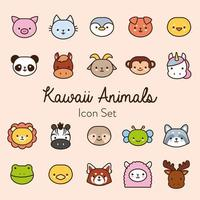 paquete de veinte animales kawaii de línea y estilo de relleno vector
