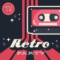 Retro style party poster with cassette tape and entrance price vector
