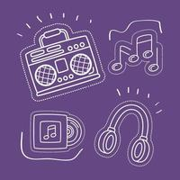 bundle of stickers icons in purple background vector