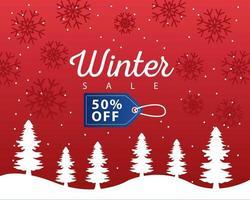 gran cartel de venta de invierno con etiqueta azul colgando en paisaje nevado vector