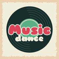 Retro style party poster with music vinyl record