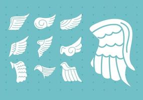 bundle of wings feathers birds silhouette style icons vector