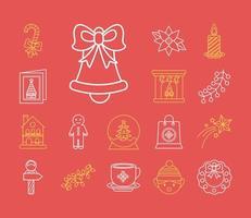 paquete de catorce iconos de estilo de línea navideña vector