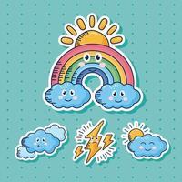 bundle of four kawaii weather comic characters vector