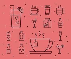 paquete de catorce iconos de bebidas vector