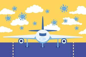 travel safe campaign poster with airplane and covid19 particles